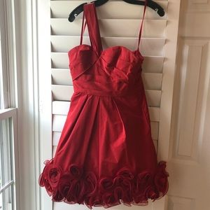 BCBG Red one shoulder cocktail dress